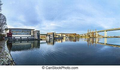 view to highway bridge over river Main in marktbreit,...