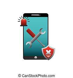 technical support design - smartphone device with repairs...