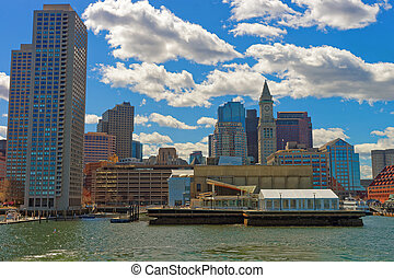 Harbor and skyline of Financial District in Boston - Harbor...