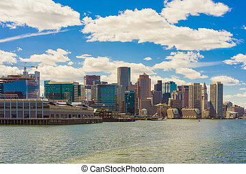 Magnificent skyline of Boston during the sunny day - Skyline...