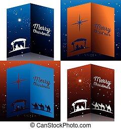 Colored manger illustration - Set of colored mangers for...