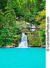 Giessbach Falls on Lake Brienz Brienzer Rothorn mountain Bern Switzerland