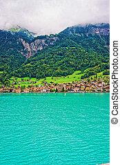 Chalets on Lake Brienz and Brienzer Rothorn mountain Bern Switzerland