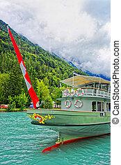 Ship on Lake Brienz and Brienzer Rothorn mountain Bern Switzerland