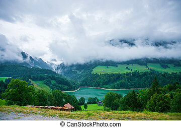 Lake Montsalvens on Prealps in Gruyere district Canton...