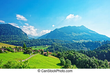 Chalets on Prealps mountains in Gruyere district in Fribourg...