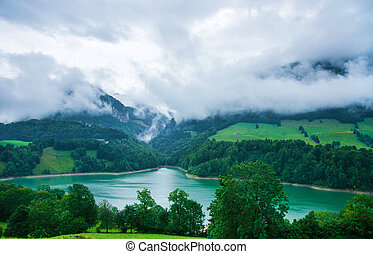 Lake Montsalvens at Prealps in Gruyere district Canton...