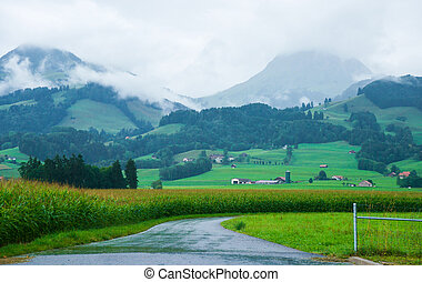 Road at Prealps mountains in Gruyere in Fribourg Switzerland...