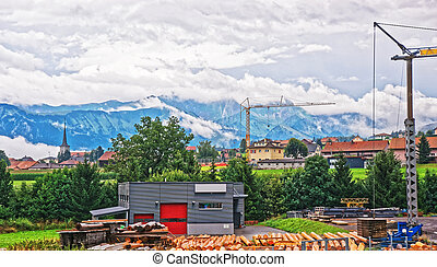 Construction works at Prealps mountains in Gruyere Fribourg...