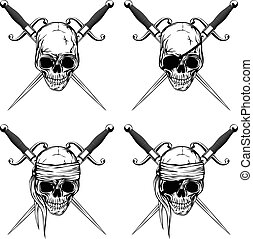 Pirate skull with cutlass set - Vector illustration pirate...