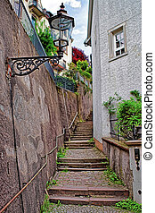 Staircase in tight street in Baden Baden Germany - Staircase...
