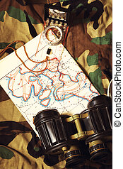 Binoculars and Compass - Military Map and Compass on...