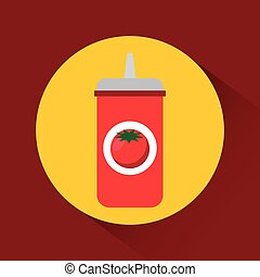 barbecue grill design - tomato sauce bottle icon over yellow...