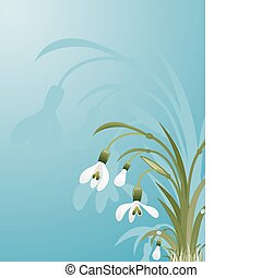 Flower background with snowdrop, element for design, vector...