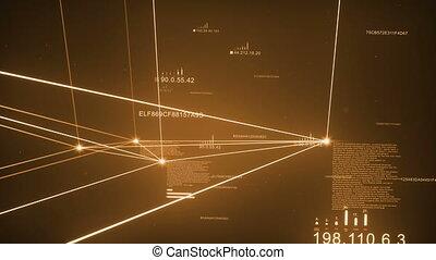 Orange Gold Dark Plexus Network Loopable - Computer Network,...