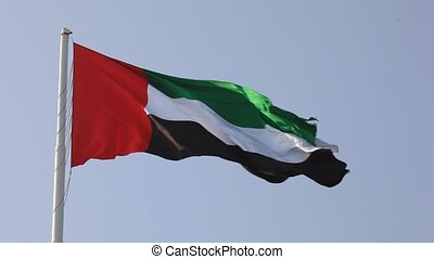 National Flag of the United Arab Emirates waving in the wind