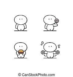 Cute fat man with food and sport - Cute fatty with candy and...