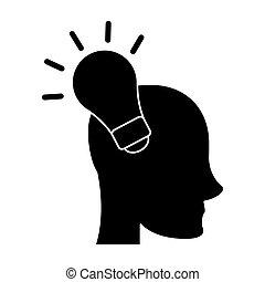 silhouette head human new idea bulb vector illustration eps...