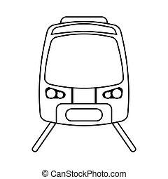 high speed train passenger rail road outline vector...