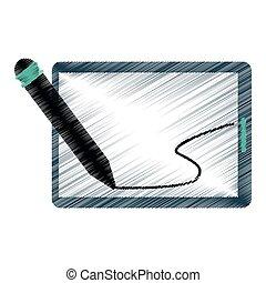 drawing tablet pen digital technology vector illustration...