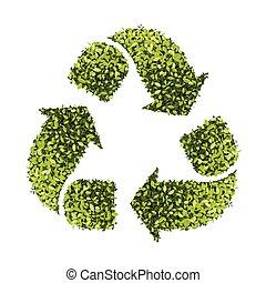 葉, イラスト, シンボル, 隔離された, 手ざわり, 背景, ベクトル, リサイクルしなさい, 白