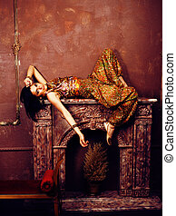 portrait of beauty sensual young woman in oriental style in...