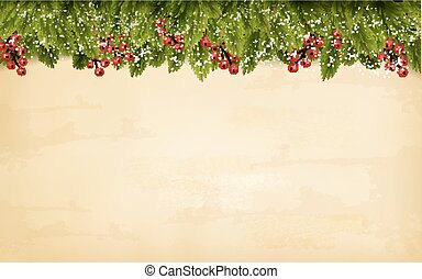 Christmas decoration on old paper background. Vector.