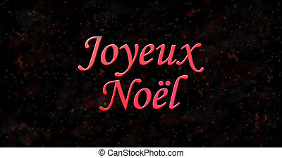 "Merry Christmas text in French ""Joyeux Noel"" on black..."