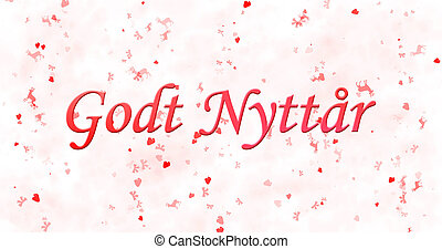 "Happy New Year text in Norwegian ""Godt nyttar"" on white..."