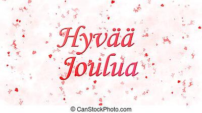 """Merry Christmas text in Finnish """"Hyvaa joulua"""" on white..."""