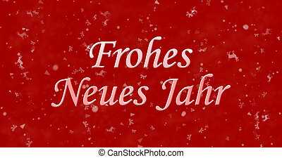 """Happy New Year text in German """"Frohes neues Jahr"""" on red..."""