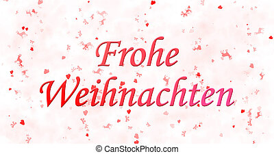 """Merry Christmas text in German """"Frohe Weihnachten"""" on white..."""