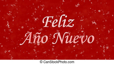 "Happy New Year text in Spanish ""Feliz ano nuevo"" on red..."