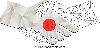 Handshake logo made from the flag of Japan.