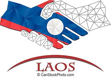 Handshake logo made from the flag of Laos