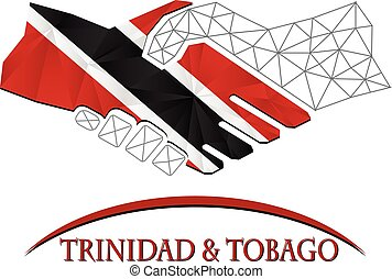 Handshake logo made from the flag of Trinidad and Tobago.