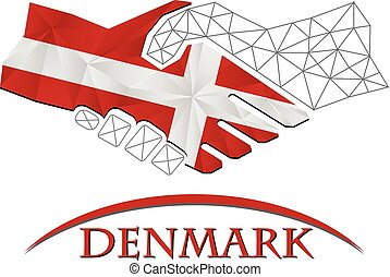Handshake logo made from the flag of Denmark.
