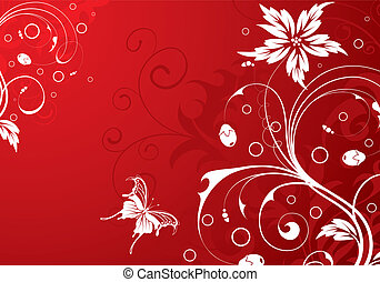 Floral background - Floral Background with butterfly,...