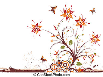 Floral background - Grunge floral background with butterfly,...
