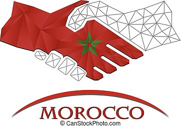 Handshake logo made from the flag of Morocco.