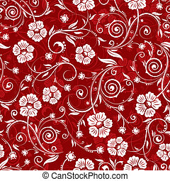 Flower seamless pattern with bud, element for design, vector...