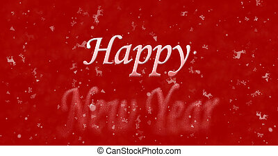 Happy New Year text turns to dust from bottom on red...