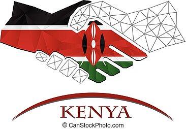 Handshake logo made from the flag of Kenya.