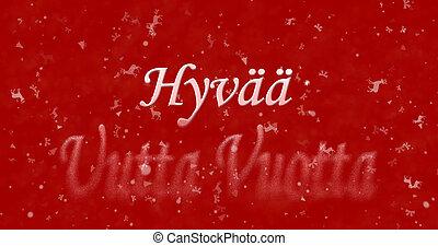 """Happy New Year text in Finnish """"Hyvaa uutta vuotta"""" turns to..."""