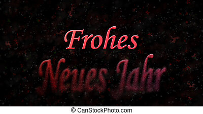 """Happy New Year text in German """"Frohes neues Jahr"""" turns to..."""