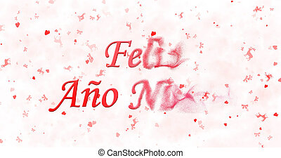 "Happy New Year text in Spanish ""Feliz ano nuevo"" turns to..."