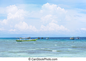 Landscape of sea view with small boats - Landscape picture...