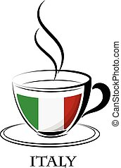 coffee logo made from the flag of Italy