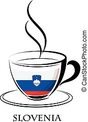 coffee logo made from the flag of Slovenia