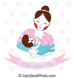 Mother's day illustration with cute mom and baby on white background